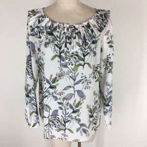 Banana republic shirt top floral pattern ruffle